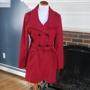 Stunning  Red Wool Double Breasted Belted Pea Coat
